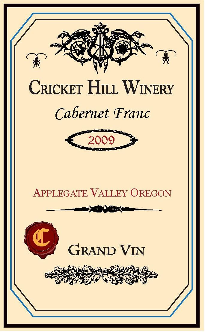 Cricket Hill 2009 Cab Franc tasting note label